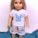 Blue Butterfly shorts set for American Girl 18 inch dolls