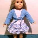 Blue 3 piece skirt outfit for American Girl 18 inch dolls