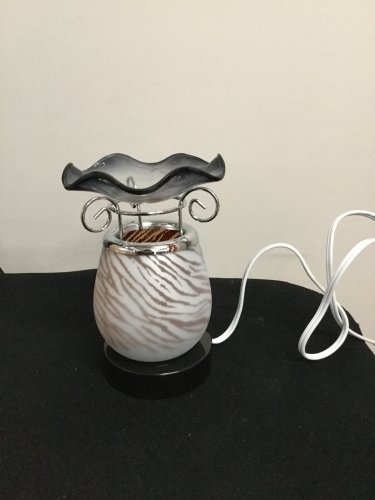 Electric Fragrance Glass Lamp Zebra Black te520