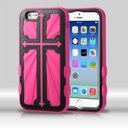 MYBAT Rubberized Black/Hot Pink Cross Hybrid Protector Cover