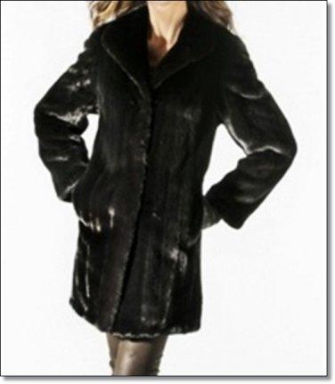 Waist Length Sheared Mink Coat Textured Norka Mink Coats Women Outdoor Coats