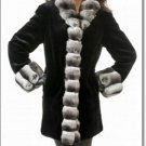 Women Waist Length Amazing Mink Fur Coat Chinchulla Collar Ladies Overall