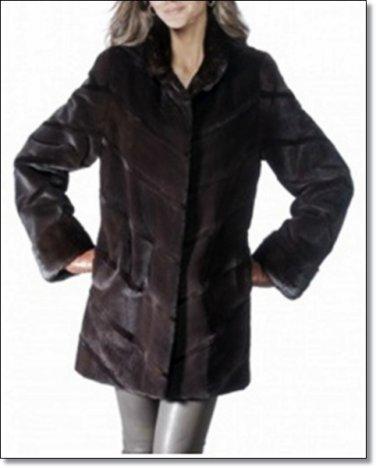 Dark Norka Mink Coat Women Minkcoat Fur Dark Color 2 Side Pocket