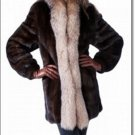 Genuine Mink Shearling Full Sleeves Winter Women Fur Coat