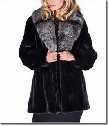 Female Mink Fur Coat Jacket Women's Norka Minkcoat With Fox Sable Custom Sizes