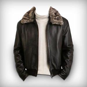 Men's Black Pilot Leather Jacket With Sheepskin Parka Fur Collar XS-6XL