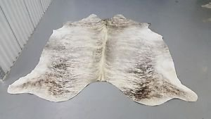 Grey White CowHIde Rug Brazilian Cow Hide  1025