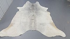 Grey White Cowhide Rug Brazilian 914 Cow Skin Hide Leather Rug