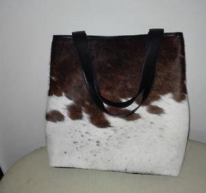 Cowhide Leather Purse Cow Hide Fur Shopper Bag Ladies Tote Leather Shoulder Bag