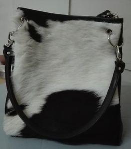 Genuine Cowhide Skin Leather Woman Purse Natural Cow Hide Ladies Tote Hand Bag
