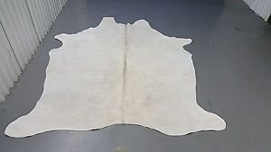 Almost White Cow hide Rug Brazilian Cowhide Skin Hyde 78 by 56 inch 1026