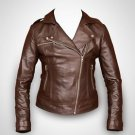 Women Real Leather Short Slim Fit Brown Biker Racer Jacket Size XS-4XL