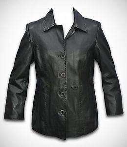 Women's Classic Black Lamb Leather Blazer Coat Ladies Winter Wear Jackets XS-4XL