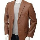 Gentleman Tan Leather Blazer Essential Wardrobe Leather Coat Notch Collar XS-6XL