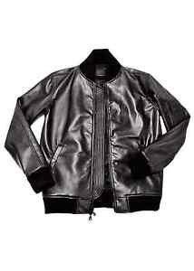 Bomberjacke aus Leder Herren Classic schwarzen Lederjacke mit Strick Sleeves
