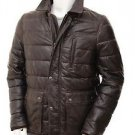 Quilted Leather Jacket Men's Brown Leather Coat XS - 6XL Custom Design Welcomed.