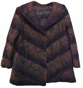 Chocolate Brown Karakul Curly Lamb Fur Short Coat