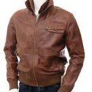 Men's Genuine Lambskin Leather Jacket Brown Biker Motorcycle Jackets XS - 6XL