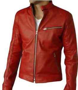 Bomber Red Leather Motorcycle Biker Racer Slim Fit Jacket