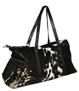 Genuine Leather Cowhide Luggage Travel Gym Bag Unisex Cow hide Large Capacity