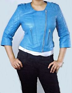 Ladies Quilted Sleeves Leather Jacket With Stylish Short Sleeve Women Short Coat