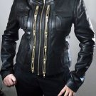 Ladies Black Slim Fit Sheep Leather Biker Genuine Soft Leather Jacket