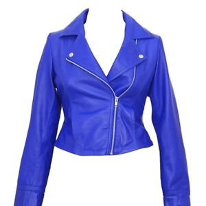 Leather Quilted Jacket Ladies Women Lamb Leather Biker Motorbike Short Jacket