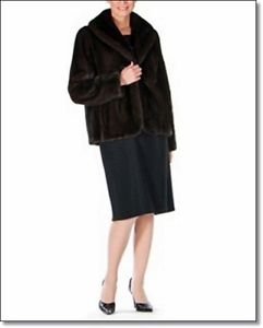 Women Waist Length Amazing Mink Norka MinkCoat Fur Leather Jacket