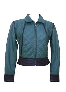 Green Quilted Style Ladies Leather Jacket Quilting Design Women Leather Coats