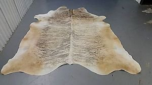 TAN COWHIDE RUG BRAZILIAN GREY WHITE COW RUG 85*75 INCH 953 LEATHER UPHOLESTRY