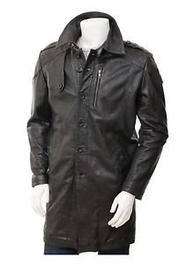 Knee Length Leather Trench Coat Cow Skin Dark Brown Leather Coat For Men