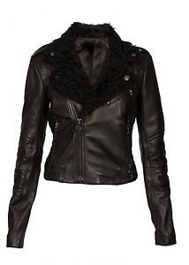 Ladies Classic Biker Cruiser Real Cow Skin Leather Jacket Sheep Skin Fur Collar