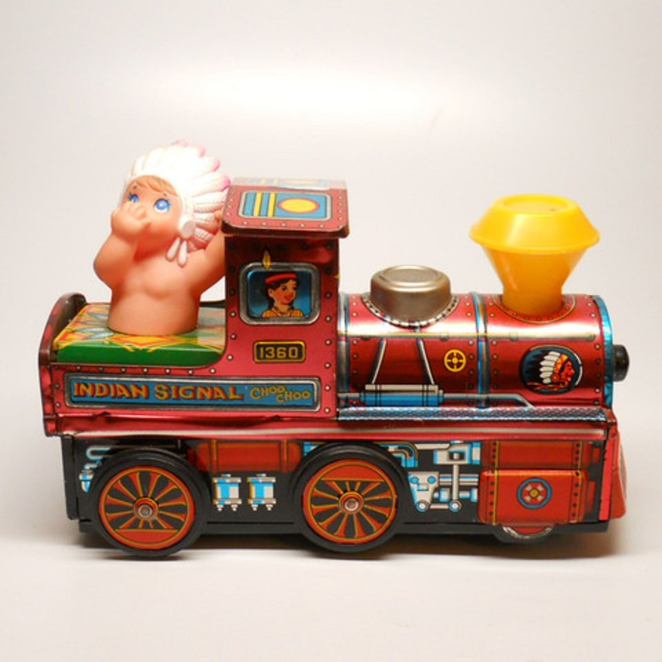 Vintage 1960's Tin 1360 Indian Signal Choo Choo Train~Kanto Toy's~Japan