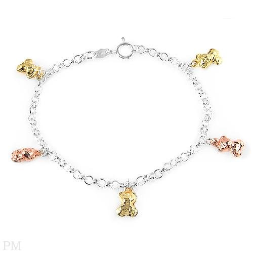 Bracelet with 14K Gold Plated Sterling Silver with Teddy Bear Charm