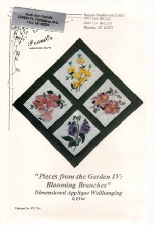 Pieces from the Garden IV: Blooming Branches Dimensional Applique Wallhanging