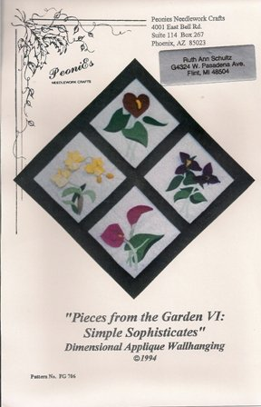 Pieces from the Garden VI: Simple Sophisticates Dimensional Applique Wallhanging