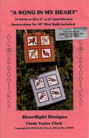 A Song in my Heart Mini Quilt Blocks Pattern by Heartlight Designs