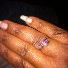 1.09ct 14kt Solid White Gold Natural Purple Rhodolite Garnet Trilogy Ring