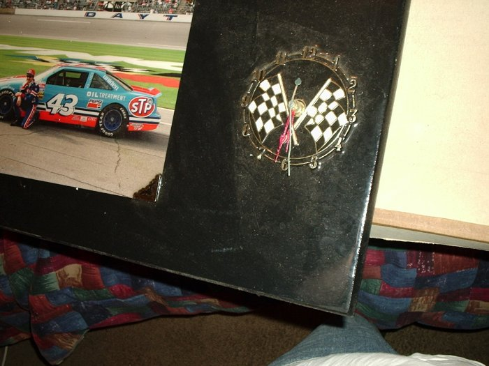 RICHARD PETTY RACE CLOCK. EMBLEM