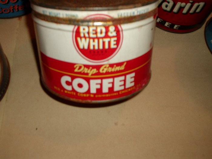 OLD RED & WHITE COFFEE CAN WITH LID