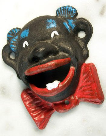 Black Man Bottle Opener Cast Iron Antique Style - 07441