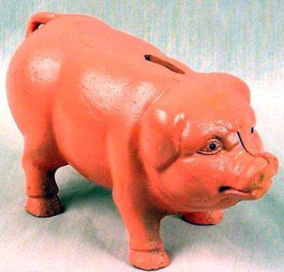 Heavy Pink Cast Iron Pig Bank / Doorstop - 04615