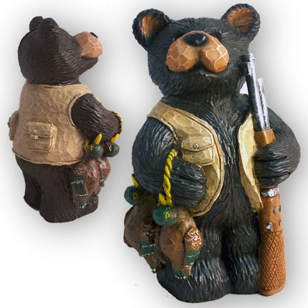 Rustic Northwood Hunting Lodge Cabin Bear Bank - 24121