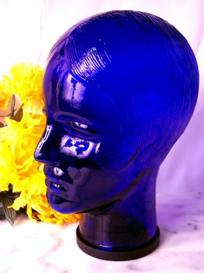 Cobalt Blue Glass Mannequin Head WOMAN Display Hat Wig - 16676