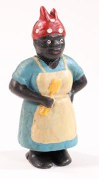 Black Lady Cast Iron Figurine Penny Bank - 04626