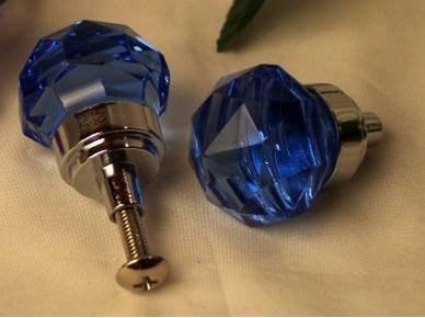 SMALL Cobalt Blue Crystal Glass Drawer/Door Pull Knob - HO35B