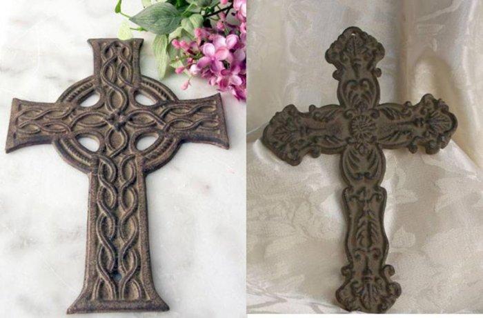 Flat Antique Look Cast Iron Crosses Set of 4 - 03101