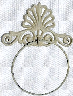 Lot of 2 Cast Iron White Shabby Style Towel Ring - 11601