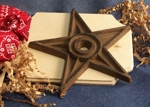 9 inch Cast Iron Star - Center Hole X-LARGE Lot of 6 - 02105