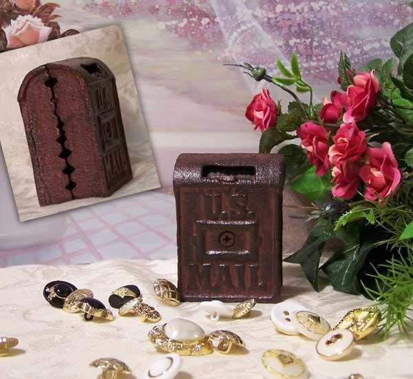Heavy Cast Iron Coin Bank Mail Box Antique Look - 04628